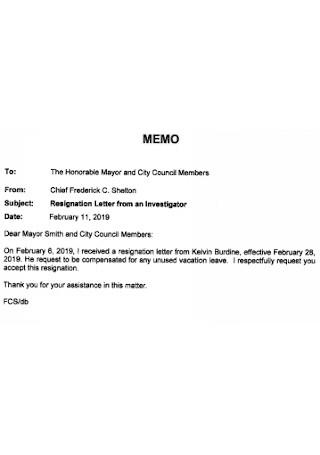 Resignation Letter from Investigator