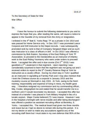 Resignation Letter from Lt
