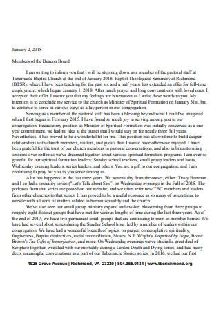 Resignation Letter from Member of Pastor