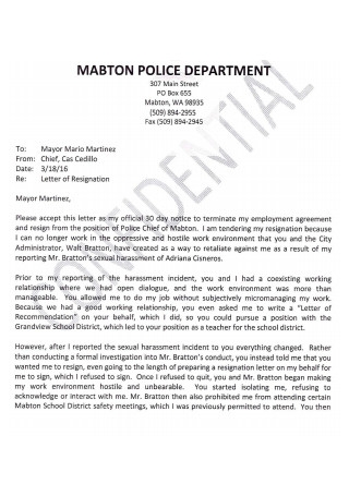 Resignation Letter from Police Mayor