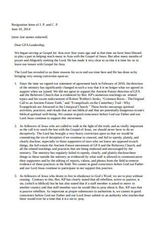 Resignation Letter of Pastor