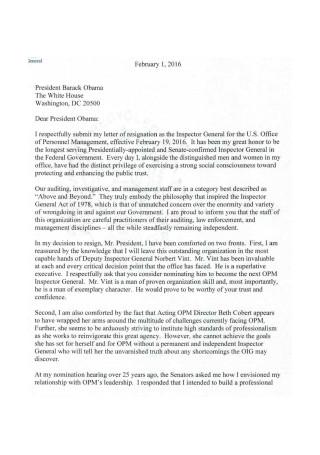 Resignation Letter to President