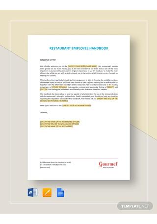Restaurant Employee Handbook Template