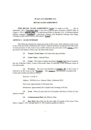 Retail Booth Salon Lease Agreement