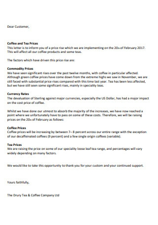 Retail Price Rise Letter