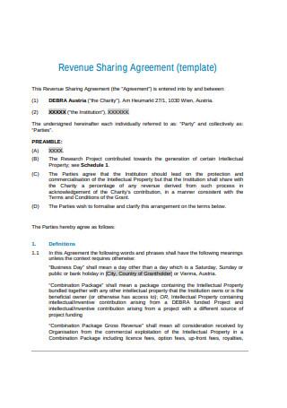 Revenue Sharing Agreement Sample