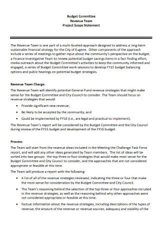 Revenue Team Project Scope Statement