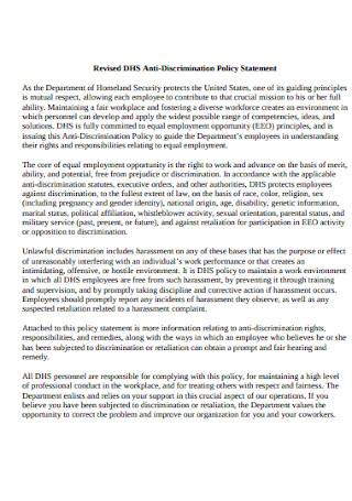 Revised Anti discrimination Policy