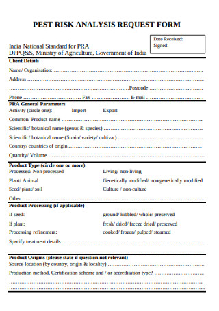 Risk Analysis Request Form