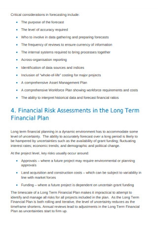 Risk Assessments in Long Term Financial Plan