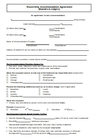Room Accommodation Agreement
