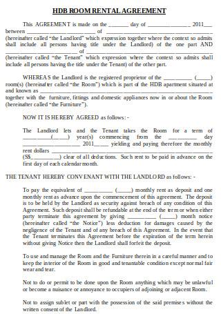 Room Rental Agreement Format