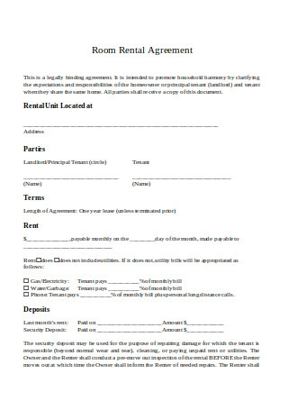Room Rental Agreement in DOC