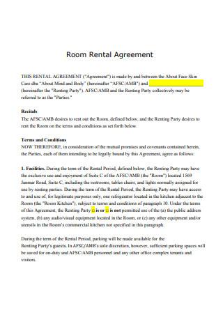 Room Rental Agreement in PDF