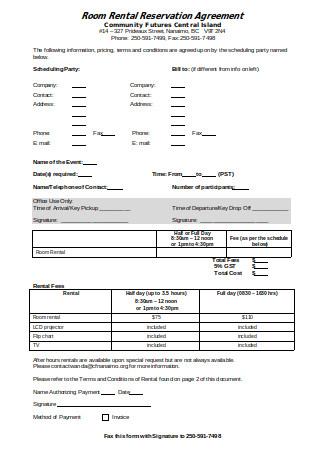 Room Rental Reservation Agreement