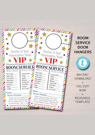 Room Service Door Hanger