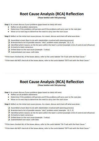 Root Cause Analysis RCA Reflection
