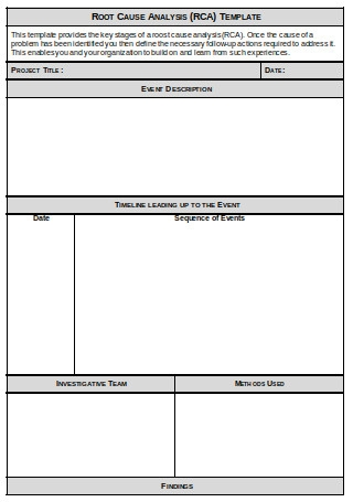 Root Cause Analysis RCA Template