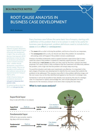 Root Cause Analysis in Business Case Development