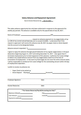 Salary Advance and Repayment Agreement