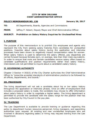 Salary History Policy Memorandum