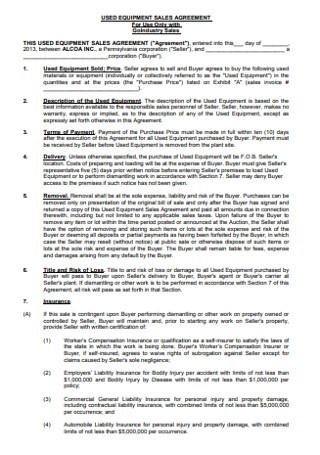 Sales Equipment Agreement