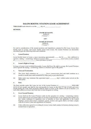Salon Booth Station Lease Agreement