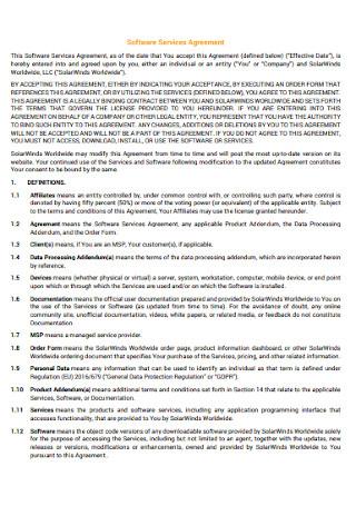 Sampe Software Service Agreement