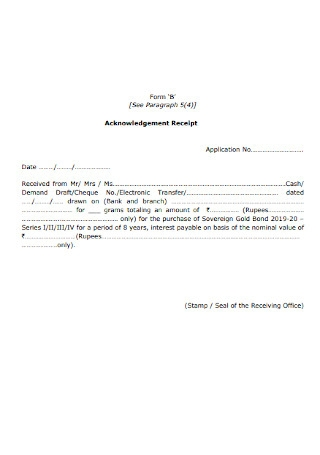 Sample Acknowledgement Receipt