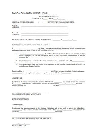 Sample Addendum to Contract
