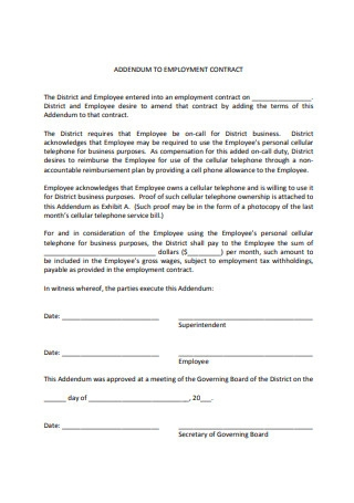 Sample Addendum to Employment Contract