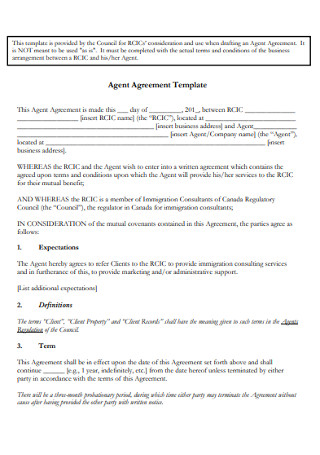 Sample Agent Agreement Template