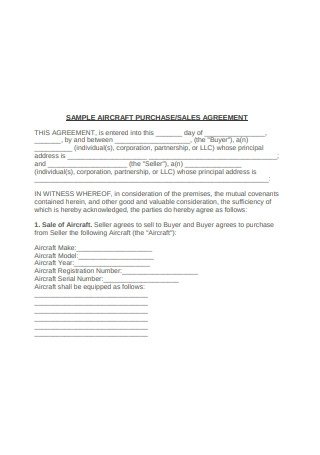 Sample Aircraft Purchase Sales Agreement