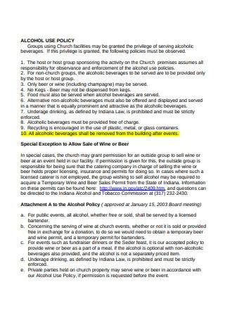 Sample Alcohol Use Policy