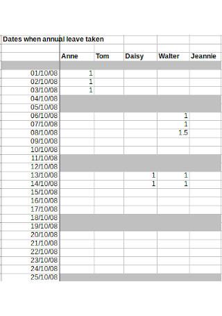 Sample Annual Leave Spreadsheet