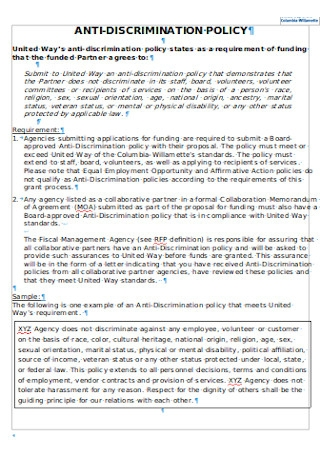 Sample Anti discrimination Policy