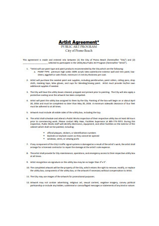 Sample Artist Agreement Format