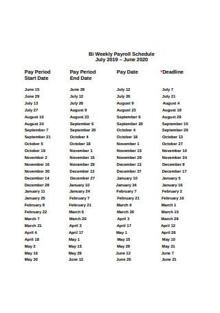 Sample Bi Weekly Payroll Schedule