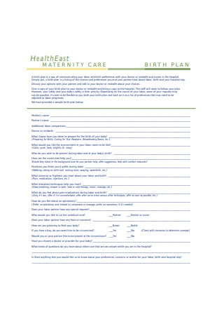 Sample Birth Plan Format