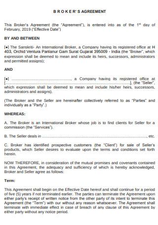 Sample Broker Agreement Format