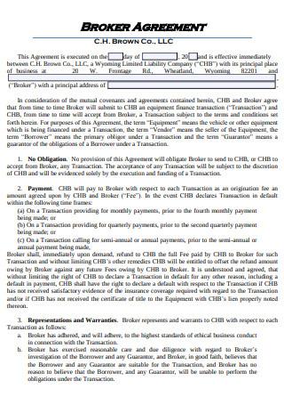 Sample Broker Agreement
