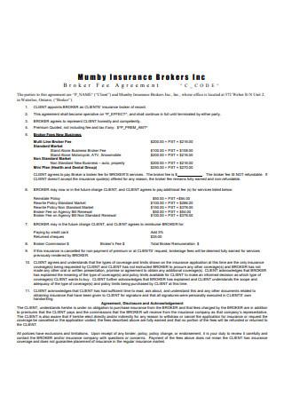 Sample Broker Fee Agreement