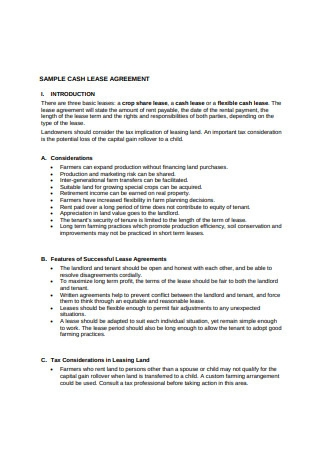 Sample Cash Lease Agreement