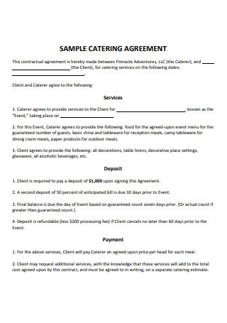 Sample Catering Agreement