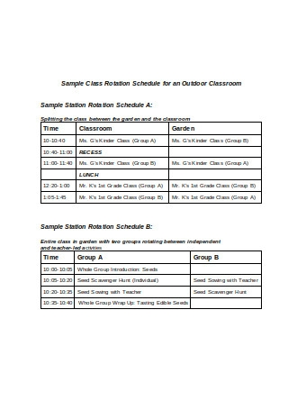 Sample Class Rotation Schedule