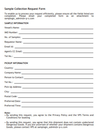 Sample Collection Request Form