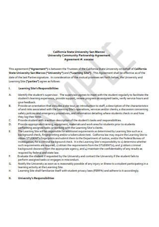 Sample Community Partnership Agreement
