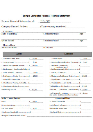 Sample Completed Personal Financial Statement