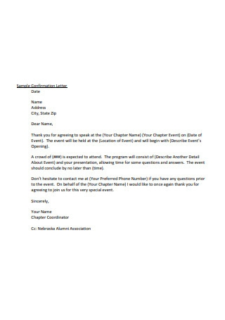 Sample Confirmation Letter Example