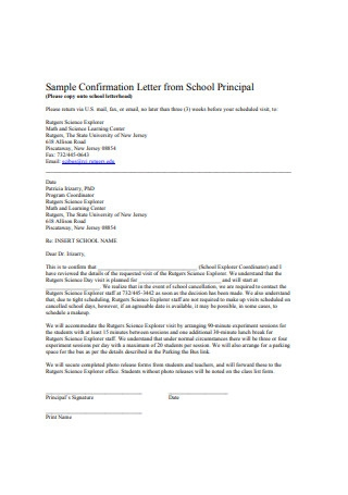 Sample Confirmation Letter from School Principal